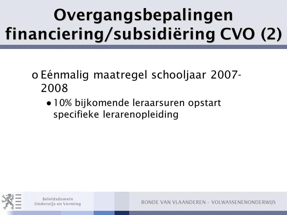 Overgangsbepalingen financiering/subsidiëring CVO (2)