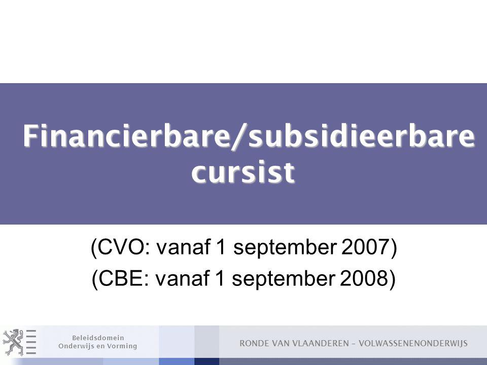 Financierbare/subsidieerbare cursist