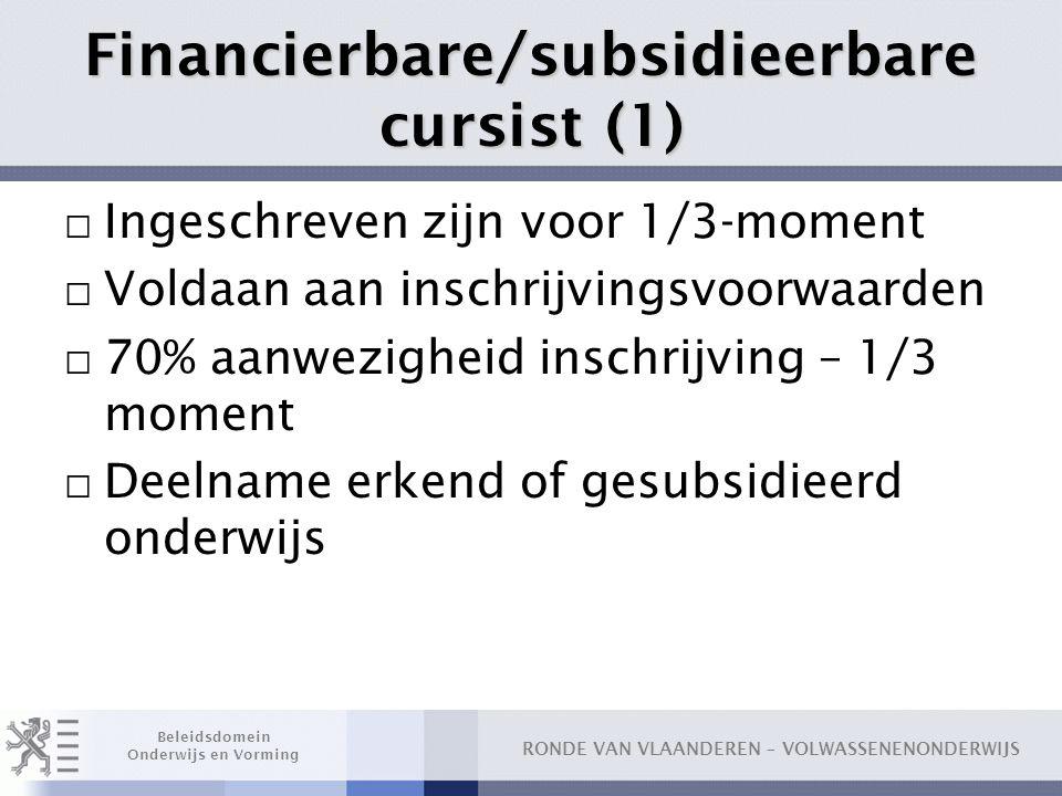 Financierbare/subsidieerbare cursist (1)