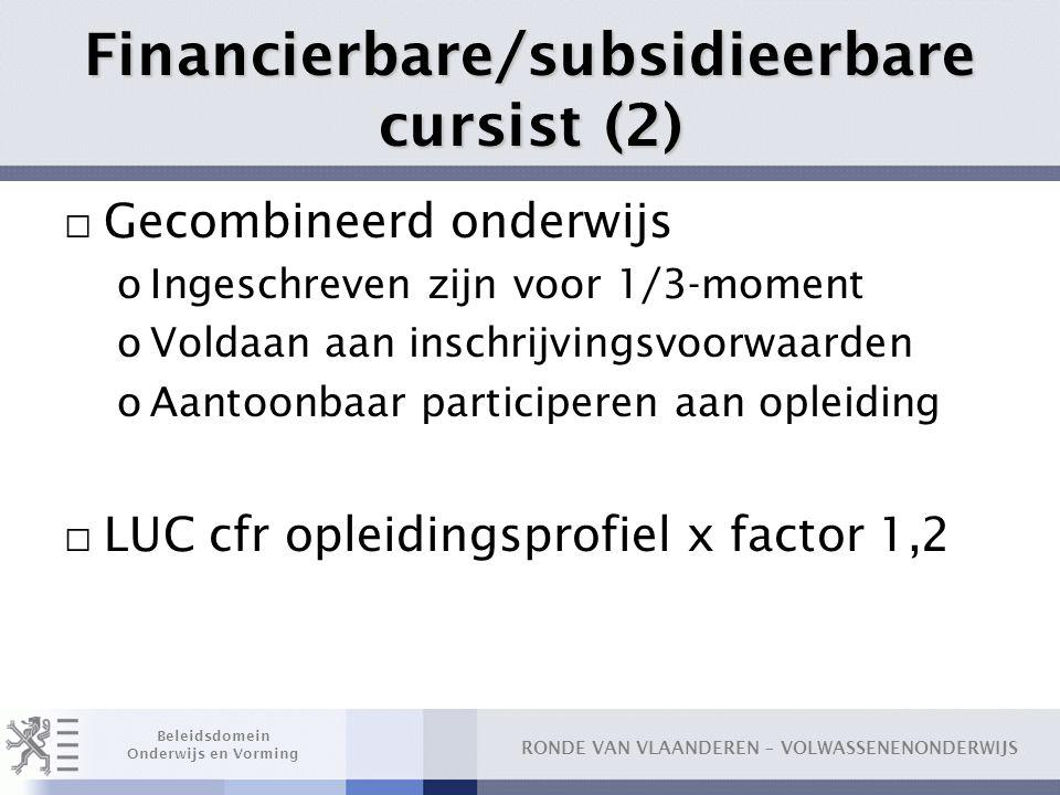 Financierbare/subsidieerbare cursist (2)