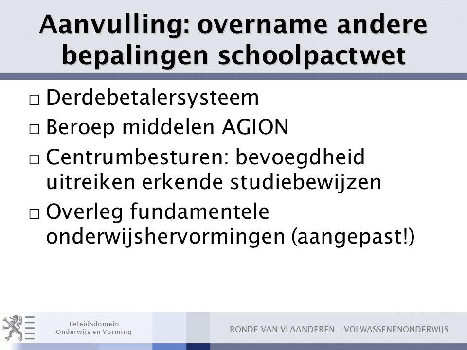 Aanvulling: overname andere bepalingen schoolpactwet