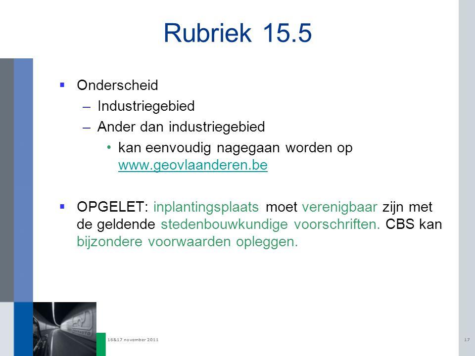 Rubriek 15.5 Onderscheid Industriegebied Ander dan industriegebied
