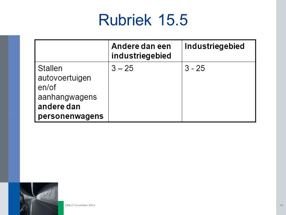 Rubriek 15.5 Andere dan een industriegebied Industriegebied