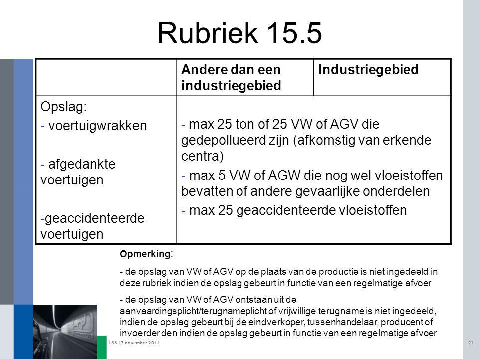 Rubriek 15.5 Andere dan een industriegebied Industriegebied Opslag: