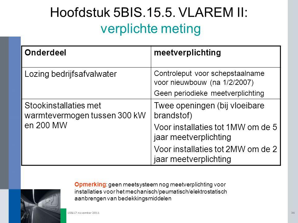 Hoofdstuk 5BIS.15.5. VLAREM II: verplichte meting