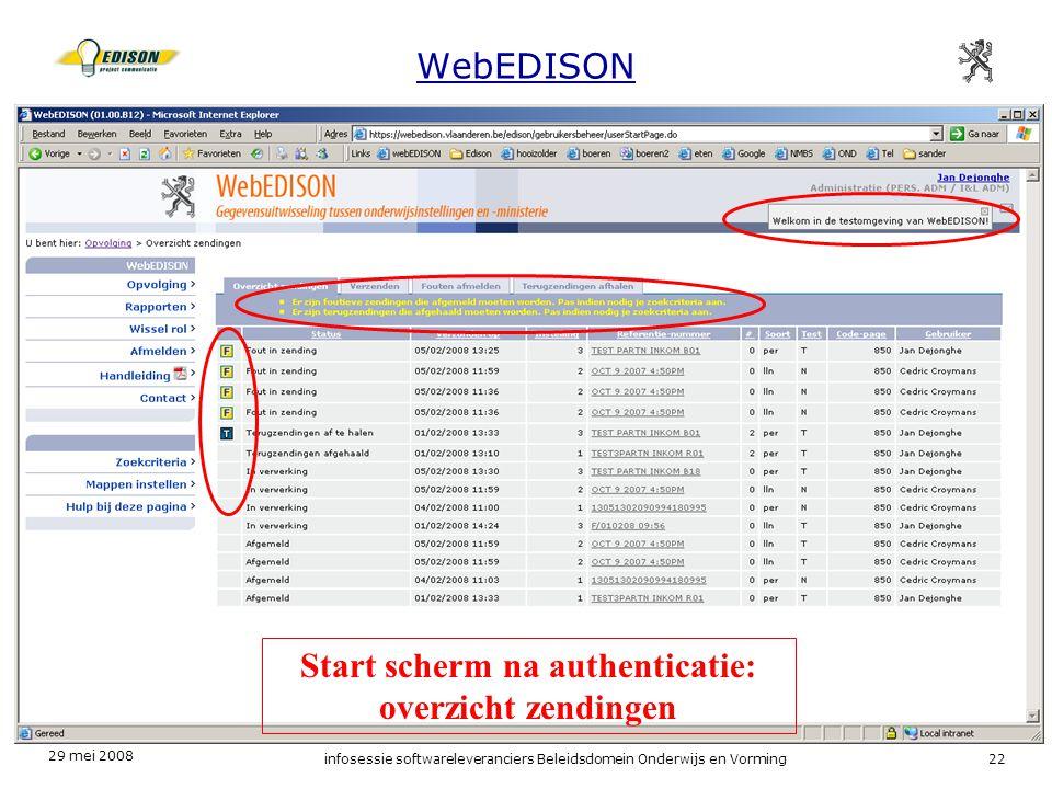 Start scherm na authenticatie: overzicht zendingen