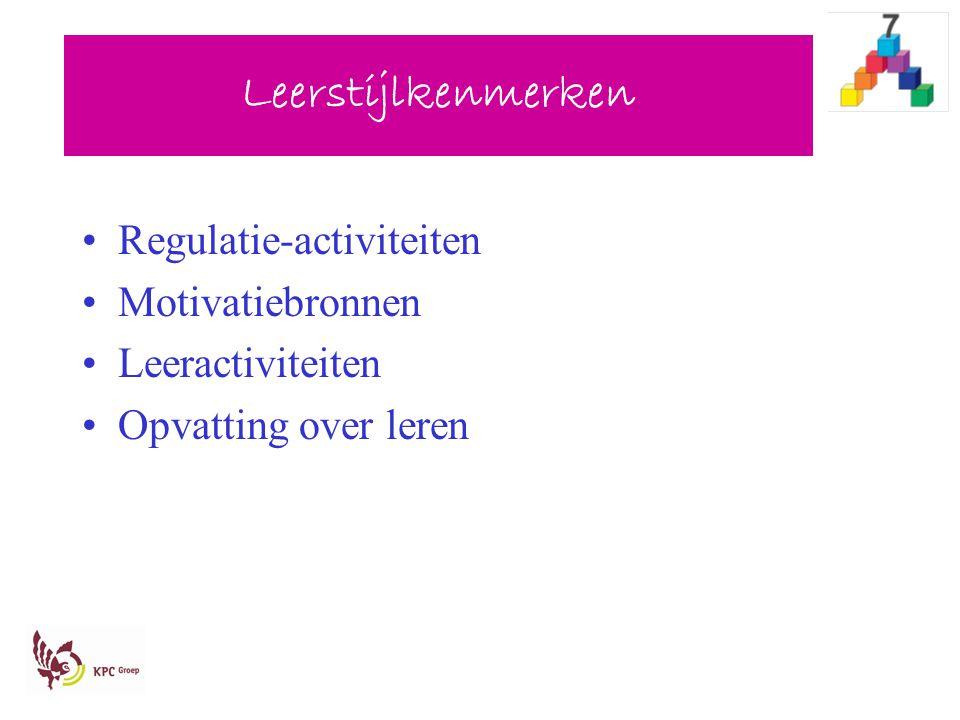 Leerstijlkenmerken Regulatie-activiteiten Motivatiebronnen