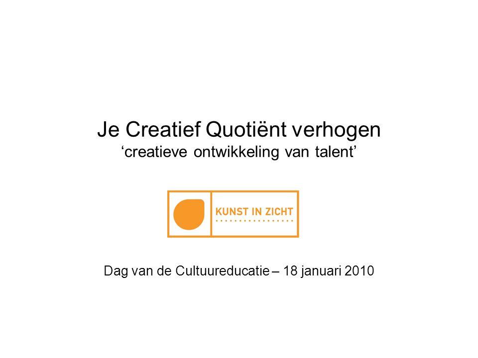 Je Creatief Quotiënt verhogen 'creatieve ontwikkeling van talent'