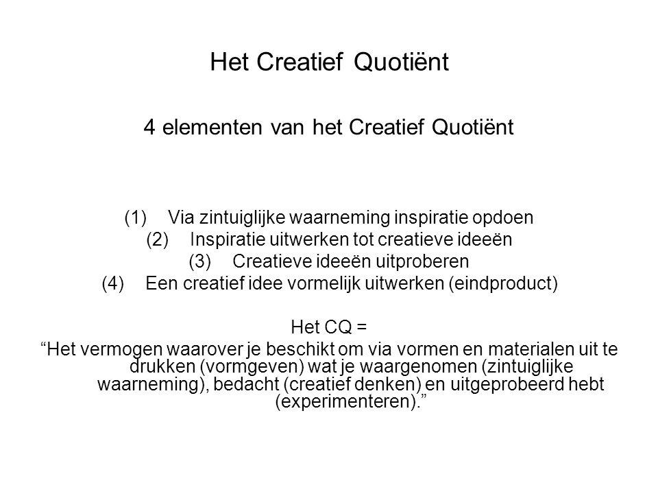 Het Creatief Quotiënt 4 elementen van het Creatief Quotiënt