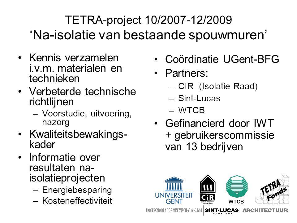 TETRA-project 10/2007-12/2009 'Na-isolatie van bestaande spouwmuren'