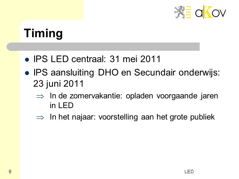 Timing IPS LED centraal: 31 mei 2011