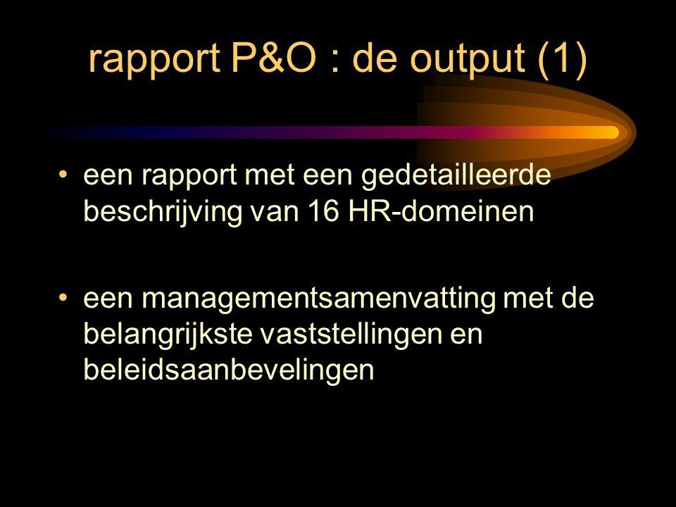 rapport P&O : de output (1)
