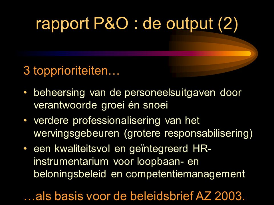 rapport P&O : de output (2)