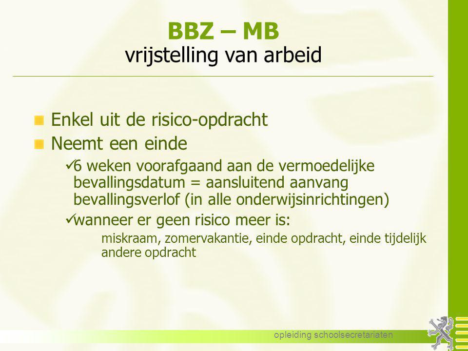 BBZ – MB vrijstelling van arbeid
