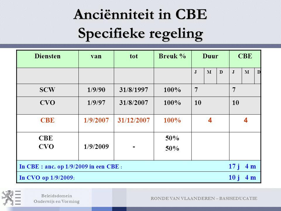 Anciënniteit in CBE Algemene regeling