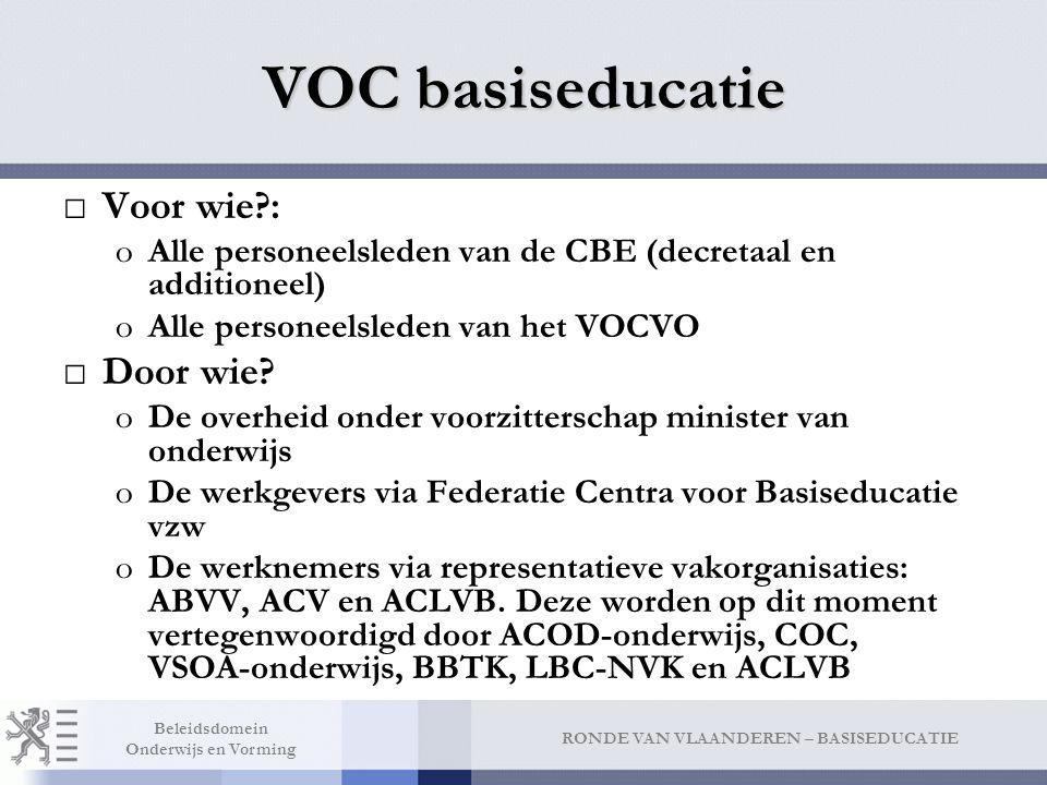 VOC basiseducatie VOC BE onderhandelt over alle regelgeving (decreten en besluiten) die gaan over: