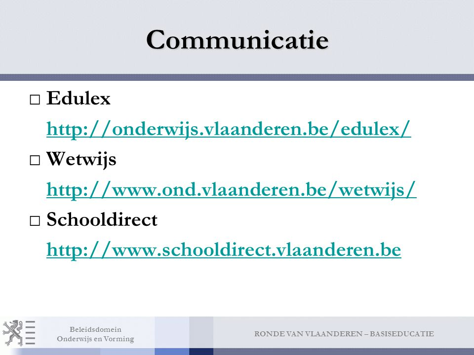 Communicatie Lerarendirect http://www.lerarendirect.be