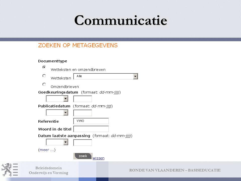 Communicatie Via rubrieken INDELING PER RUBRIEK