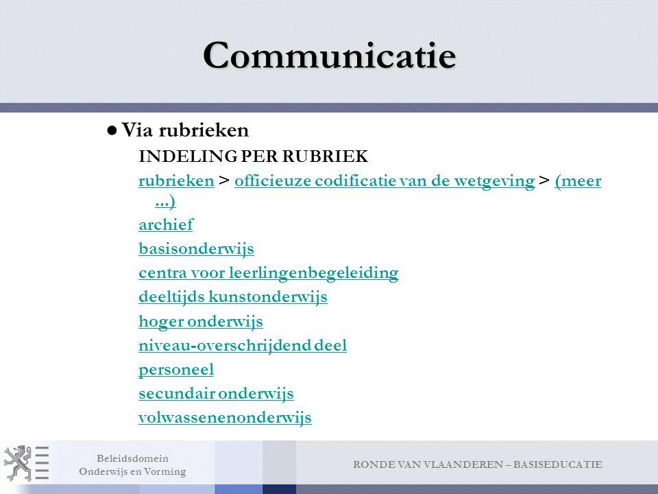 Communicatie INDELING PER RUBRIEK