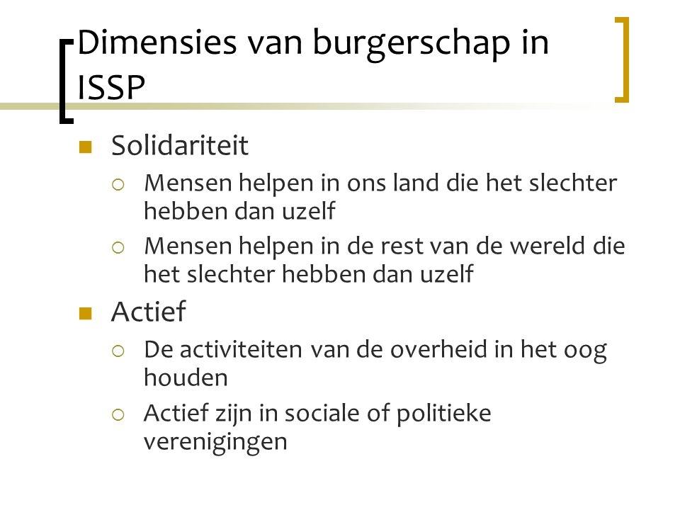 Dimensies van burgerschap in ISSP