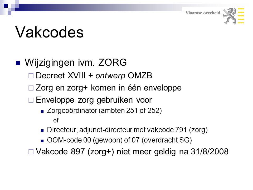Vakcodes Wijzigingen ivm. ZORG Decreet XVIII + ontwerp OMZB