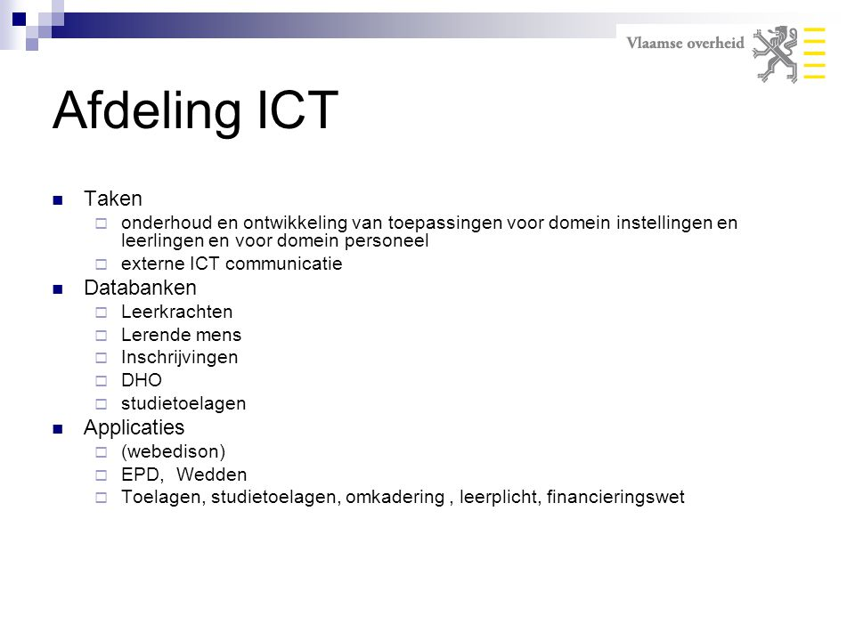 Afdeling ICT Taken Databanken Applicaties