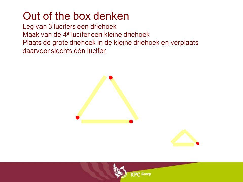 Out of the box denken Leg van 3 lucifers een driehoek Maak van de 4e lucifer een kleine driehoek Plaats de grote driehoek in de kleine driehoek en verplaats daarvoor slechts één lucifer.