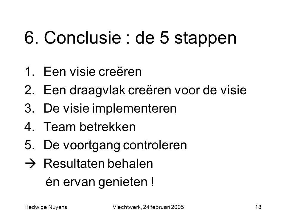 6. Conclusie : de 5 stappen Een visie creëren
