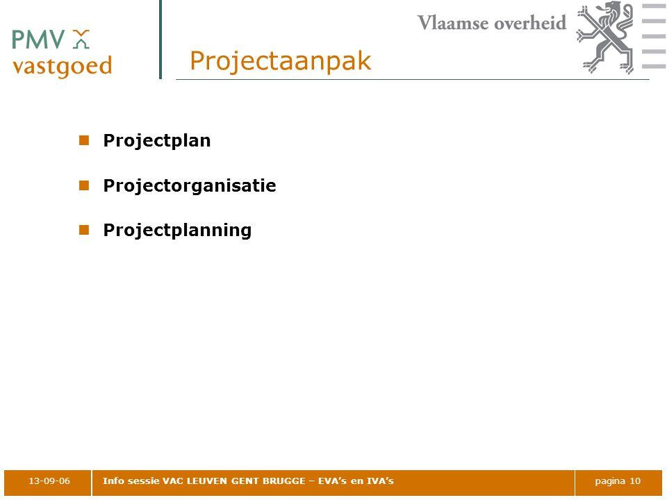 Projectaanpak Projectplan Projectorganisatie Projectplanning 13-09-06