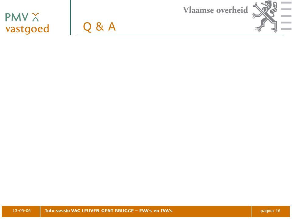 Q & A 13-09-06 Info sessie VAC LEUVEN GENT BRUGGE – EVA's en IVA's