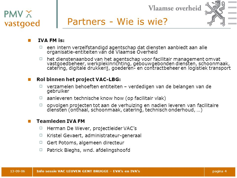 Partners - Wie is wie IVA FM is: