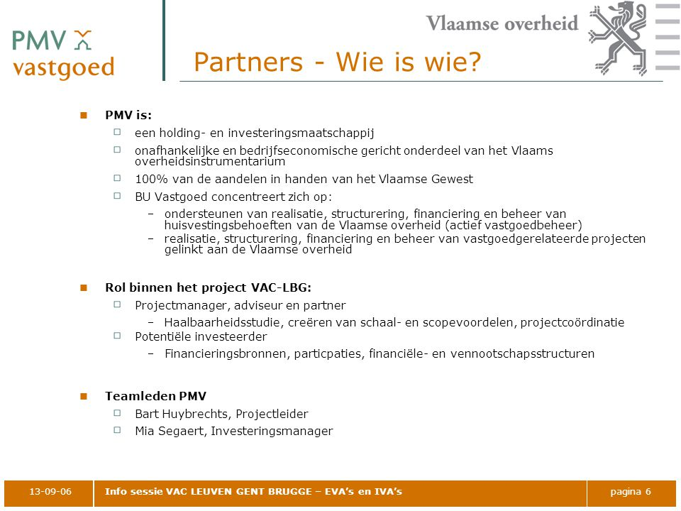 Partners - Wie is wie PMV is: