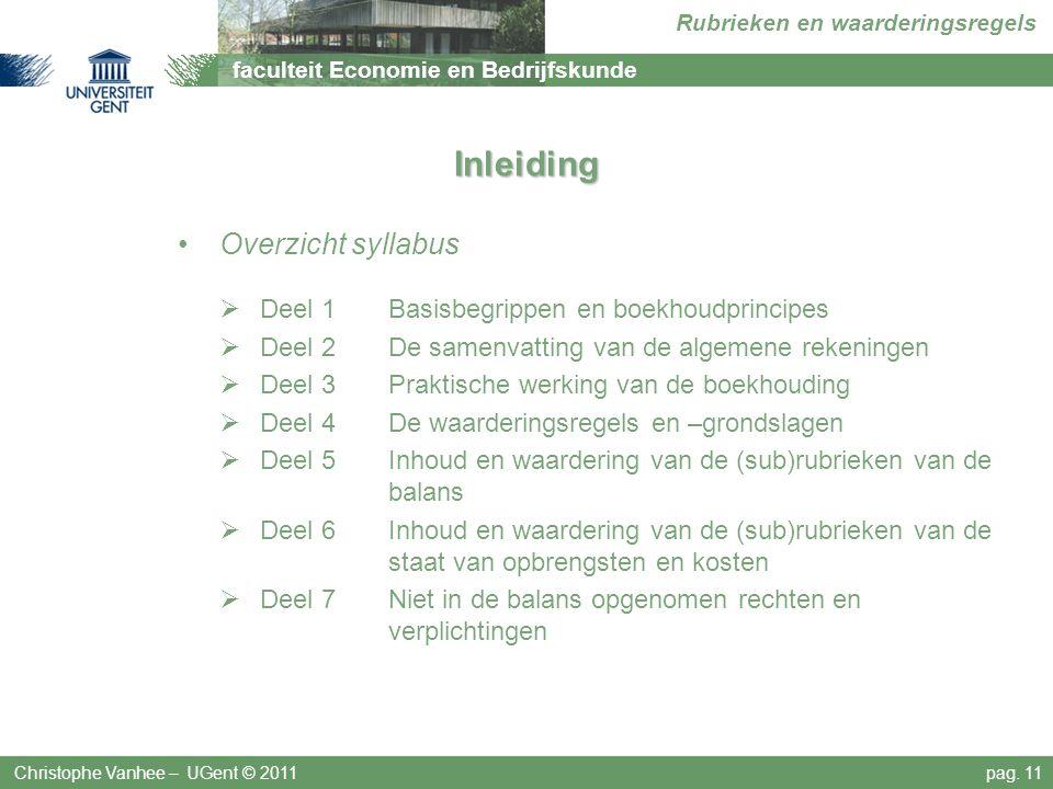 Inleiding Overzicht syllabus