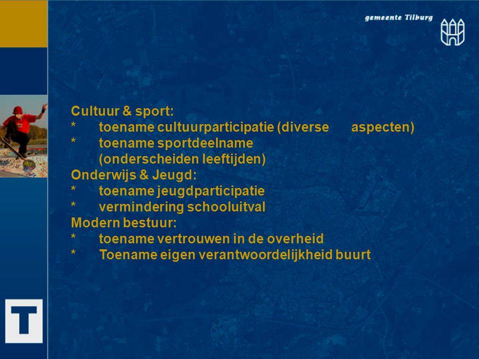 Cultuur & sport: * toename cultuurparticipatie (diverse aspecten) * toename sportdeelname. (onderscheiden leeftijden)