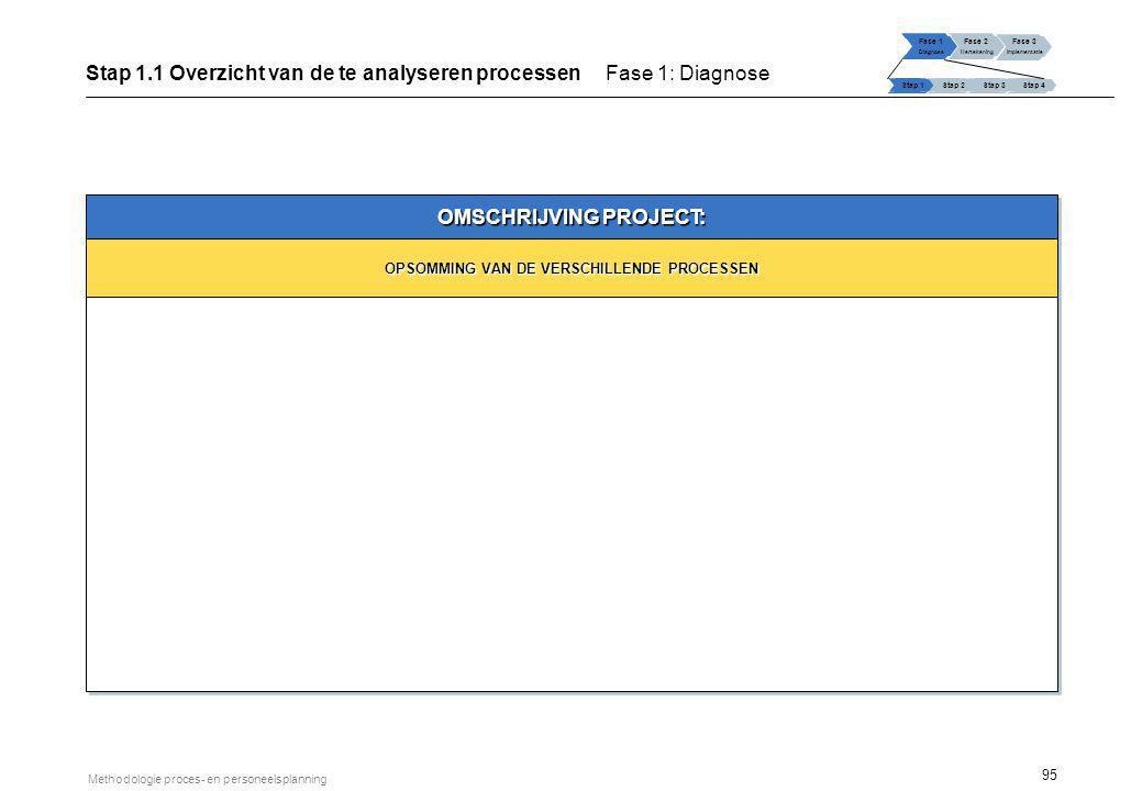 Stap 1.1 Overzicht van de te analyseren processen Fase 1: Diagnose
