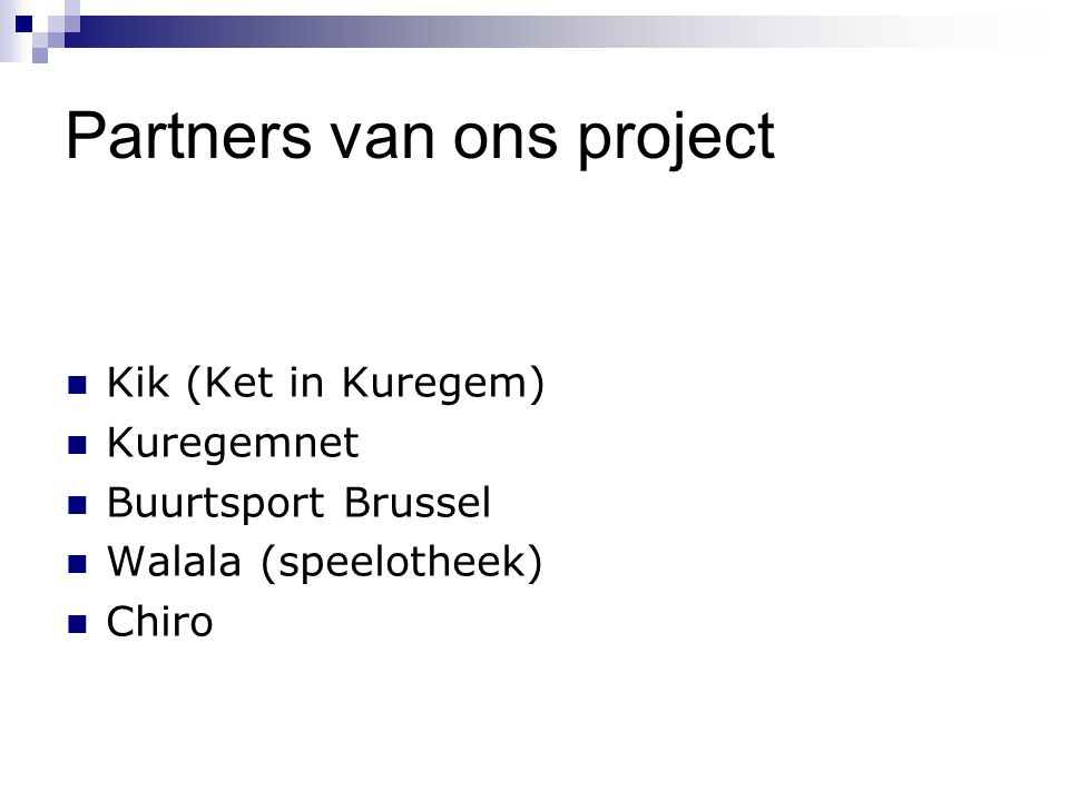 Partners van ons project