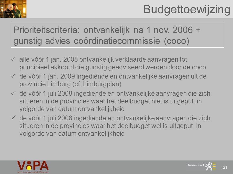 Budgettoewijzing Prioriteitscriteria: ontvankelijk na 1 nov. 2006 + gunstig advies coördinatiecommissie (coco)
