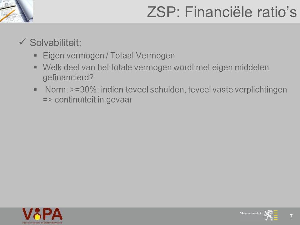 ZSP: Financiële ratio's
