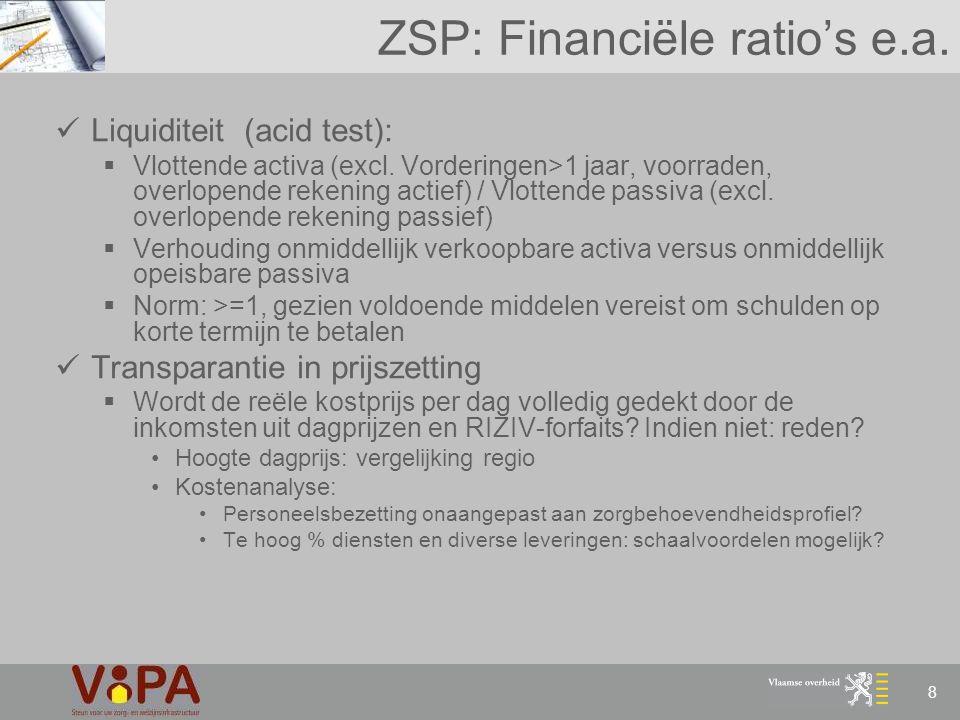 ZSP: Financiële ratio's e.a.