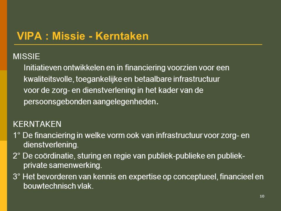 VIPA : Missie - Kerntaken
