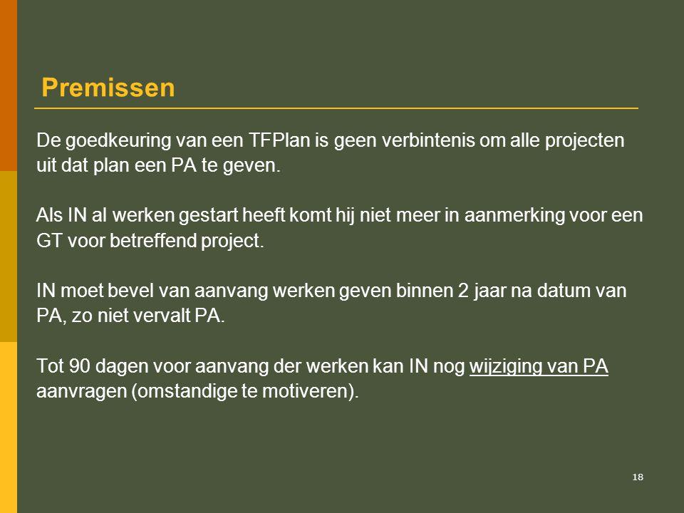 Premissen De goedkeuring van een TFPlan is geen verbintenis om alle projecten. uit dat plan een PA te geven.