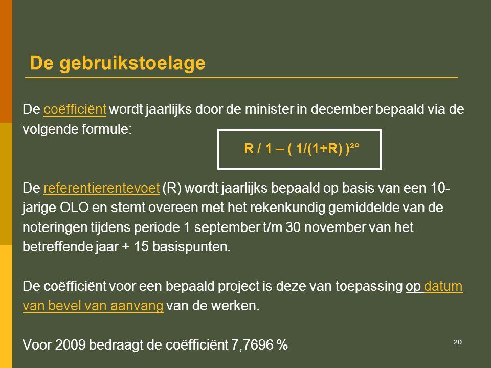 De gebruikstoelage De coëfficiënt wordt jaarlijks door de minister in december bepaald via de. volgende formule: