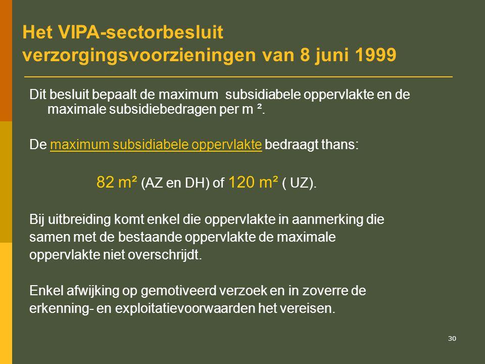 Het VIPA-sectorbesluit verzorgingsvoorzieningen van 8 juni 1999