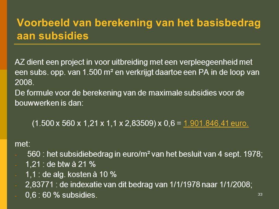 Voorbeeld van berekening van het basisbedrag aan subsidies