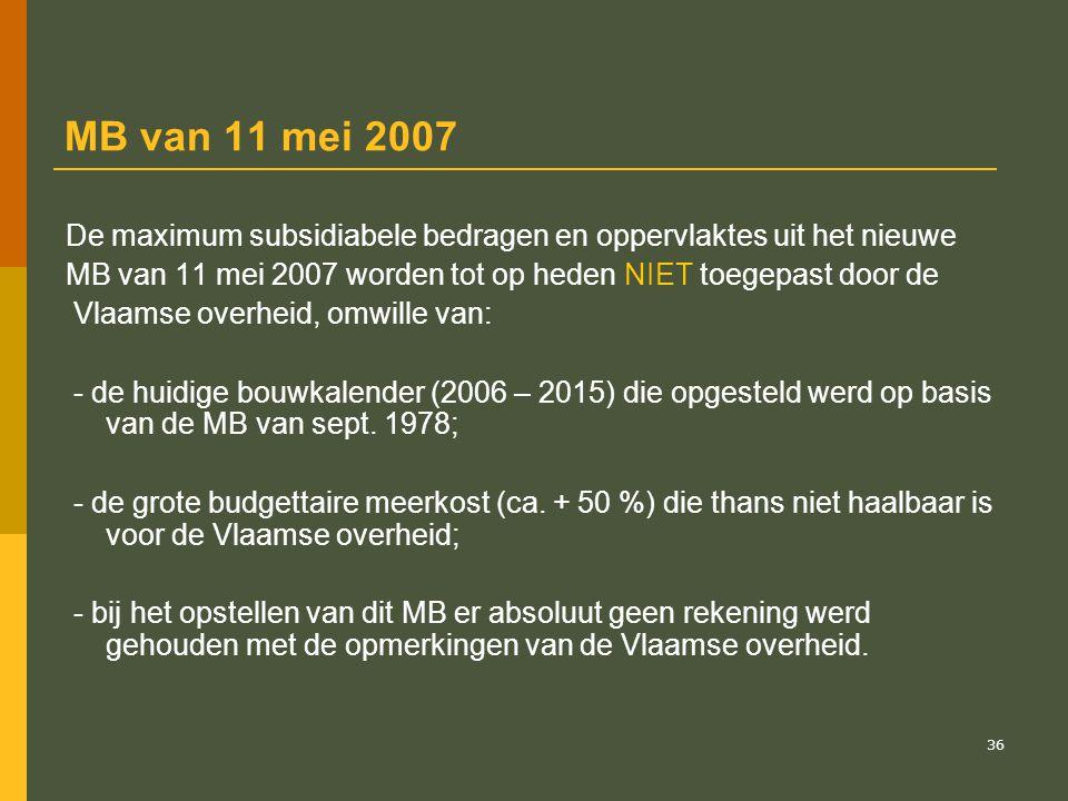 MB van 11 mei 2007 De maximum subsidiabele bedragen en oppervlaktes uit het nieuwe. MB van 11 mei 2007 worden tot op heden NIET toegepast door de.