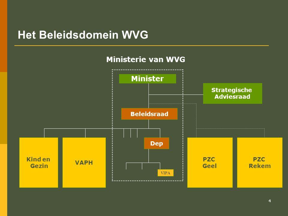 Het Beleidsdomein WVG Ministerie van WVG Minister Strategische