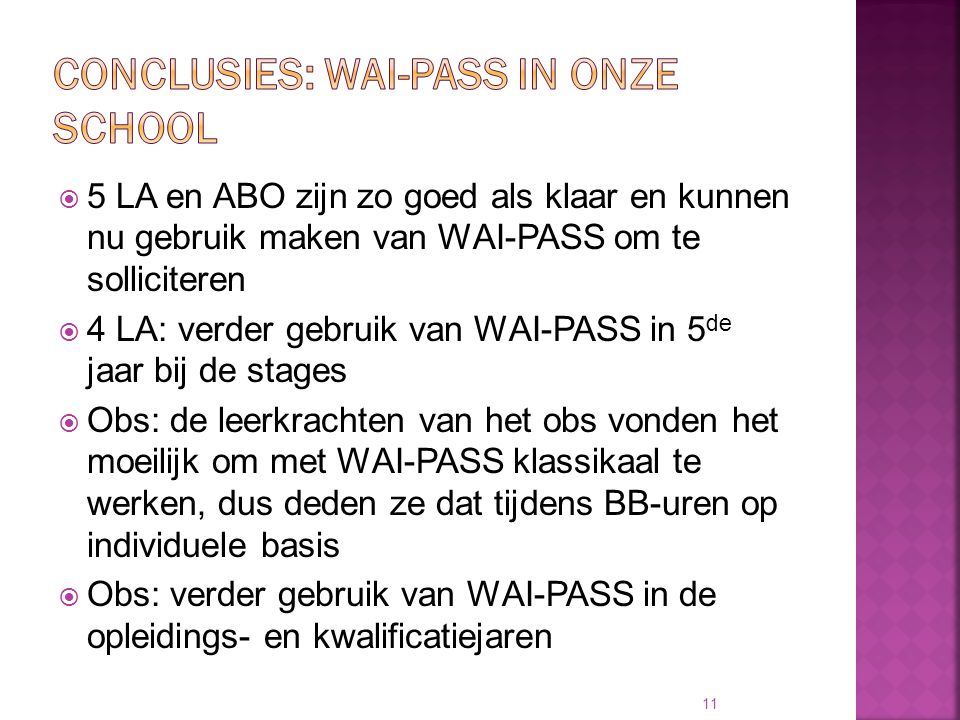 Conclusies: WAI-PASS in onze school