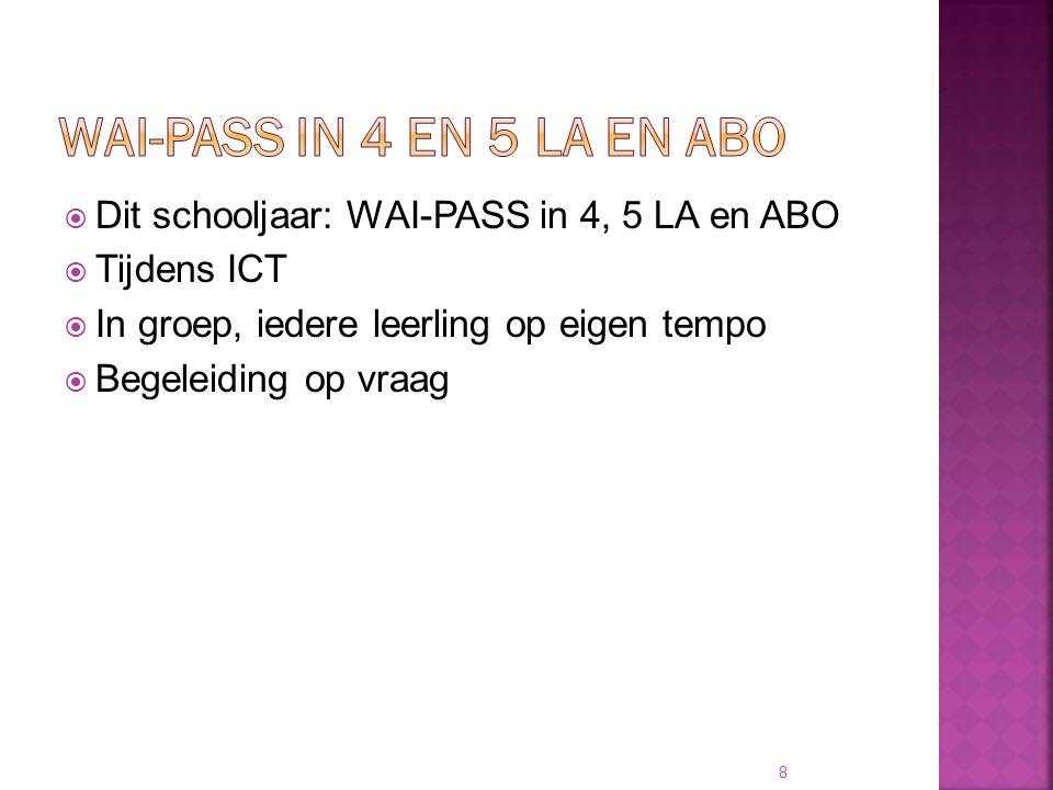 WAI-PASS in 4 en 5 LA en ABO Dit schooljaar: WAI-PASS in 4, 5 LA en ABO. Tijdens ICT. In groep, iedere leerling op eigen tempo.
