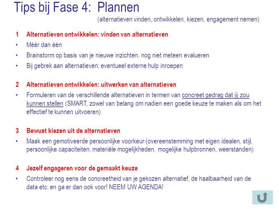 Tips bij Fase 4: Plannen (alternatieven vinden, ontwikkelen, kiezen, engagement nemen)