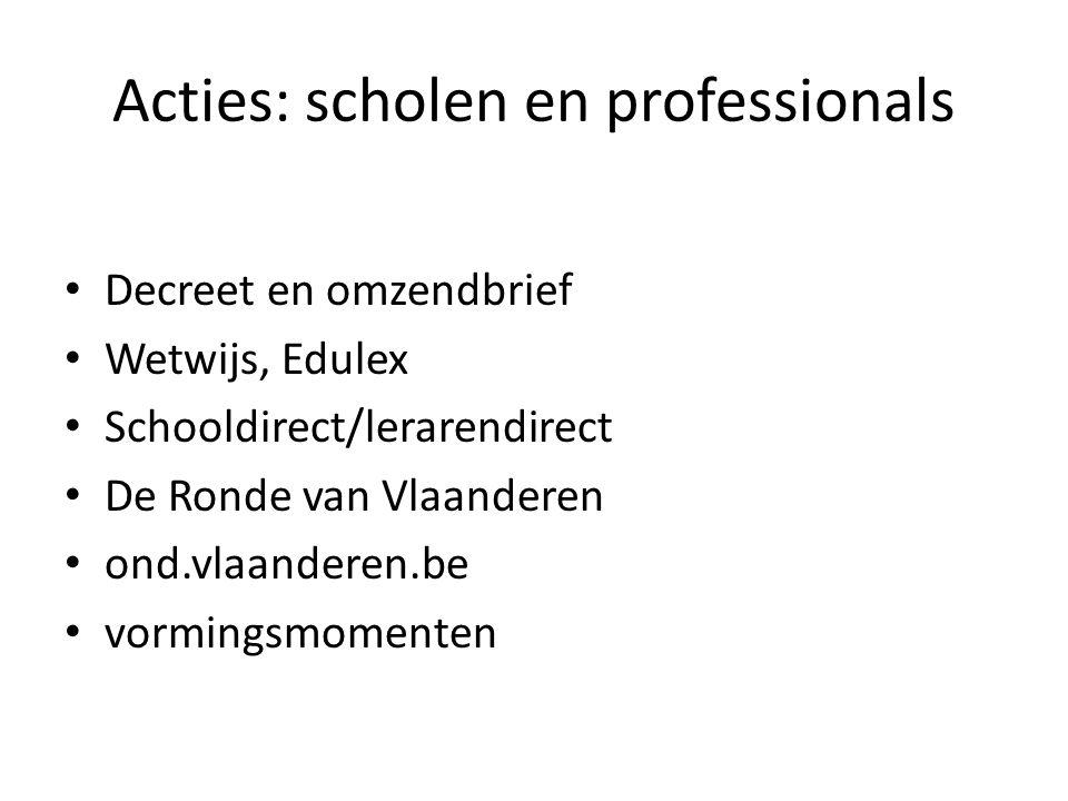 Acties: scholen en professionals